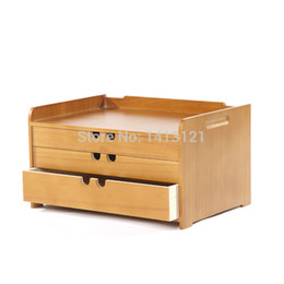 wood storage boxes drawers Australia - free shipping A4 Wooden desk storage drawer debris cosmetic storage box jewelry retro style office Creative gift Home supply