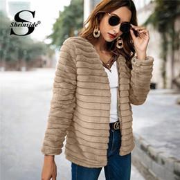 Faux Fur lining womens winter online shopping - Sheinside Khaki Textured Faux Fur Teddy Coat Women Winter Fur Jacket With Lining Fashion Ladies Outerwear Womens Coats Jackets