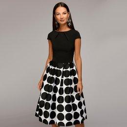 Summer Street Fashion Vintage Dresses Australia - Fashion Vintage Dot Printed A line Party Midi Dress Short Sleeve O neck Elegant Bohemian Midi Dress 2018 Summer Chic Dress Y19012102