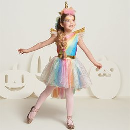 Christening Hair Australia - Kids Rainbow Unicorn Dress for Girls Cosplay Prom Costume Children Princess Lace Dresses Hair Hoop Wing Set Halloween Party Tutu