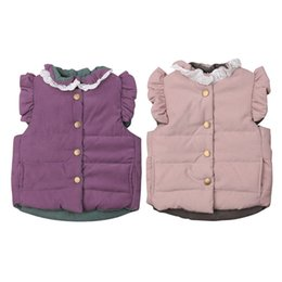$enCountryForm.capitalKeyWord NZ - New Kids Autumn Vests Lace Korean Style Baby Girls Bow Waistcoats Simple Casual Children Outerwear Warm Unisex Coats Jackets