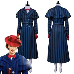 Wholesale 2018 Mary Poppins Returns Cosplay Mary Poppins Costume Dress Coat For Adult Women Halloween Carnival Costumes Clothing