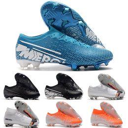 Ingrosso Nuovo arrivo 2019 Mens Mercurial Vapors Fury XIII Elite FG Scarpe da calcio flessibile Fly knit 360 Superfly VI Indoor Soccer Cleats Stivali 36-45
