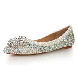 Chinese  LSDN-1103 New Type Tip Shallow Color Diamonds Flat Heeled Single-shoes Wedding Ceremony Leisure Flat-soled Shoes manufacturers