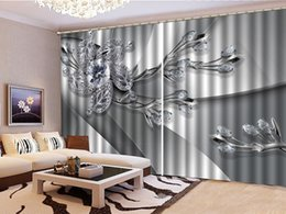 Beautiful Bedroom Curtains Canada - 3D Floral Curtain Luxury Jewels, Diamonds, Leaves And Flowers Living Room Bedroom Beautiful Practical Shade Curtains