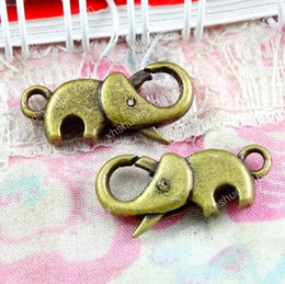 metal key clasps Australia - 40pcs 12*23MM Antique bronze metal elephant lobster clasp hook vintage bracelet clasp Connector alloy diy key jewelry clasp making Findings