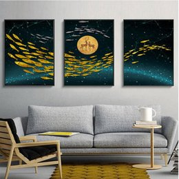 $enCountryForm.capitalKeyWord Australia - Light luxury living room bedroom golden Abstract bird and deer background wall painting triple decorative core Mural