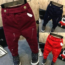$enCountryForm.capitalKeyWord NZ - Boys spring autumn fashion pants kids casual all match trousers baby pocket harem pant red wine red blue children 2-7 years old