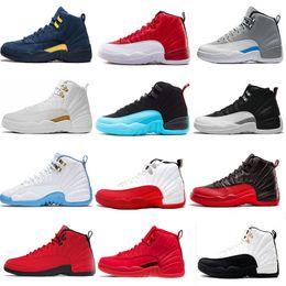separation shoes 6dd65 25875 Pas cher 12s 12 Chaussures De Basket-ball Pour Hommes Gym Rouge Michigan  blanc play-off noir Le Jeu De La Grippe Jeu taxi taxis de sport baskets  taille 7-13