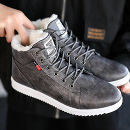 warm waterproof winter sneakers NZ - Men Winter Boots with Plush Leather Fleeces Cotton Shoes Warm Waterproof Design Black Gray Snow Boots Platform Causal Sneakers LY191217
