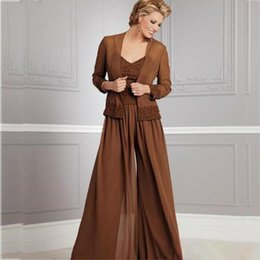 $enCountryForm.capitalKeyWord Australia - Vintage Chiffon Pants Suits For Mother Of The Bride V Neckline Spaghetti Party Evening For Wedding Mothers Guest Dress With Jacket