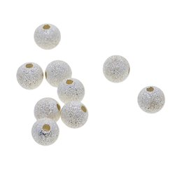 10 Pieces 925 Sterling Silver Stardust Round Ball Spacer Beads Charms Findings 6mm For Gift Jewelry Making Accessories