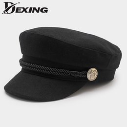 325a773cf autumn winter beret women's wool newsboy caps women black Spring Solid  Plain Casual Painter Cap yacht captain hat