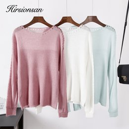 korean clothes sweater knits Australia - Hirsionsan Pullover Sexy Sweater Women Autumn Winter 2019 Knitted Warm Hollow Ladies Tops Korean Casual Stretch Femme Clothes