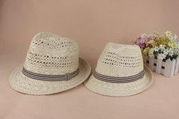 hat free Australia - Jazz Straw Hat Crochet British Style Men's And Women's Small Hats With Frilly Lovers Hats Free Shipping