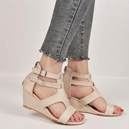 $enCountryForm.capitalKeyWord Australia - 12019 Summer Women Sandals Leopard Wedges Med Heel Open Toe Beach Ladies Height Increasing Shoes Platform Buckle Strap Plus Size