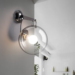 BuBBle Ball BulB lamp online shopping - Bubble glass ball wrought iron wall lamp simple modern bedside lamp LED bulb porch restaurant living room aisle creative E27