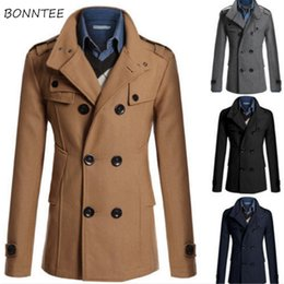 $enCountryForm.capitalKeyWord NZ - Wool Men Double Breasted Turn-down Collar Slim Winter Plus Size Warm Soft Blends Mens Korean Style Daily Simple All-match Coats