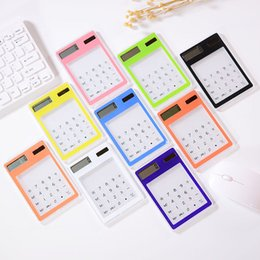 Free calculator online shopping - Transparent Calculator Student Stationery Ultra thin Solar Mini Portable Calculator Portable Learning Office Stationery A03