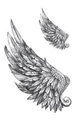 6614c3d8a1f45 Waterproof Temporary Fake Tattoo Stickers Grey Feather Angel Vintage Design  Body Art Make Up Tools