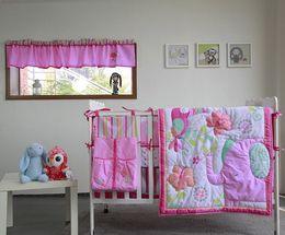 Girls Bedding Australia - High Quality Baby Organizer 9Pcs Girl Crib bedding set Pink Baby cot bed for infant Comforter Crib sheet Dust Ruffle