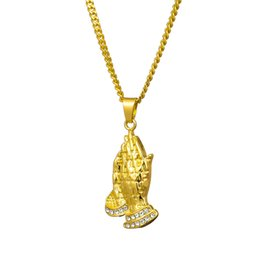 $enCountryForm.capitalKeyWord Australia - New Gold Praying Hands Designer Necklace Hip Hop Women Mens Necklace Rhinestone Iced Out Pendant Necklace Free Shipping