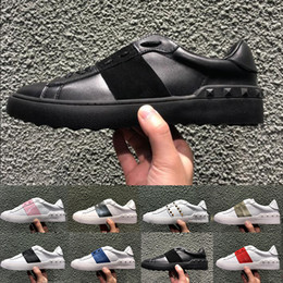 $enCountryForm.capitalKeyWord NZ - 2019 High Quality Genuine Leather Casual Shoes Fashion Black White Mens Womens Designer Sneakers Ladies Flat Trainers Outdoor Luxury Shoes