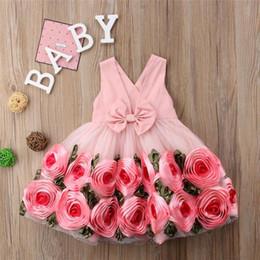 Halloween Tutus For Infants Australia - Kids Girl Dress Infant Princess 3D Flower Tutu Dresses 2019 Baby GIrls Backless Bow Dress For Party Children Clothing S146