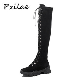 d6aec5f38 Pzilae Pop Women Winter Boots Lady Over The Knee Lace Up Zipper Long Boot  Shoes Short Plush Platform Leather Martin Boots