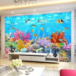 Living World Painting NZ - Custom Photo Wallpaper Coral Underwater World 3D Wall Painting Decorations Living Room TV Background Wall Covering 3D Wallpaper