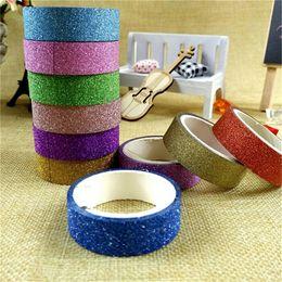 Decorative Paper Rolls Australia - 120 Rolls 3M Random Color Glitter Washi Sticker Paper Masking Adhesive Tape Label Craft For DIY Decorative