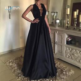 Discount black dinner gowns - 2019 New V-Neck Black A Line Long Evening Dress Elegant Dinner Satin Backless Gowns Lace Appliques Formal Women Prom Par