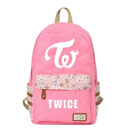 Cute Girl Backpacks For Teenagers Australia - Wishot Kpop Twice Backpack Flowers Shoulder Travel Bag For Teenagers Girls Women Canvas Dot School Bag Cute Pink Y190601