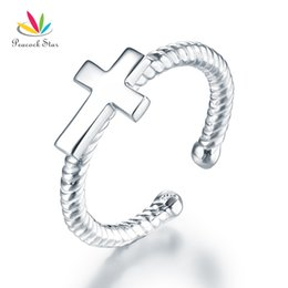 $enCountryForm.capitalKeyWord Australia - Kids Girls Cross Ring Solid 925 Sterling Silver Children Jewelry Adjustable CFR8267 Dropshipping Service Available