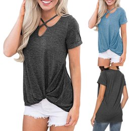$enCountryForm.capitalKeyWord Australia - Aesthetic 2019 Korean Clothes Women Short Sleeve Knot Shirts Front Cross V-Neck Tunic Loose Tops Tee Shirt Femme SexyTop Casual