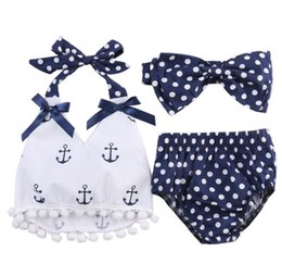 BaBy girl anchor clothing online shopping - Toddler Infant Baby Girls Clothes Anchors Tops Shirt Polka Dot Briefs Head Band Outfits Set