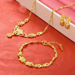 gold necklaces for prom UK - Gold Plated Coper Alloy Necklace Earrings Bracelet Jewelry Set for Women Costume Wedding Engagement Statement Prom Birthday Party