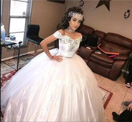 silver sweet 16 court dresses Australia - Vintage Puffy Ball Gown Wedding Dresses 2019 Custom Made Beaded Off Shoulder Sweet 16 Party Formal Gowns