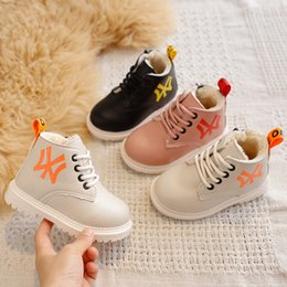 old snow boots NZ - 2019 Winter plush warm kids snow boots baby boys and girls fashion boots non-slip soft cotton shoes 1 - 5 years old sports shoes CJ191223