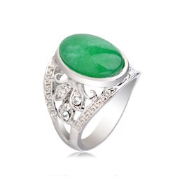 Hollow Fingers UK - BlueSand Malachite Stone Silver Ring Oval Green Jasper Hollow Flower Retro Pattern Crystal Rhinestone Finger Rings Women Jewelry