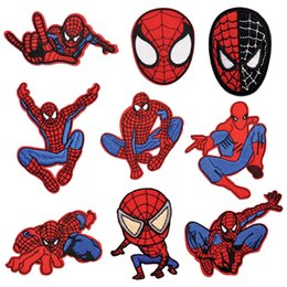 Wholesale Cartoon Spider Man hero Patches for Clothing DIY Embroidery Iron On Patch Girls Boys Stickers Garment Sewing Appliques
