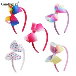 $enCountryForm.capitalKeyWord UK - 5pcs Bow Headband Woven Headwear Rainbow Printed Ribbon Hairbands Hair band Accessories scrunchie Christmas Costume Accessory