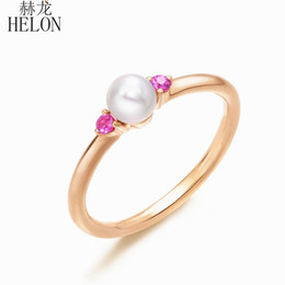 Rose Gold Cluster Engagement Rings Australia - HELON Solid 14k Rose Gold Certified Round Freshwater Pearl & Natural Pink Sapphire Engagement Women Elegant Party Jewelry Ring