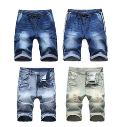EuropEan board online shopping - Men s Shorts Jean Denim Causual Fashional Distressed Shorts Skate Board Jogger Ankle Ripped Wave