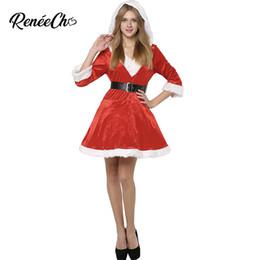 390b707054c Costume de Noël femmes Sassy Costume Mme Claus Costume rouge robes de noël  dames costume de Père Noël à capuche fantaisie robe et ceinture ensemble