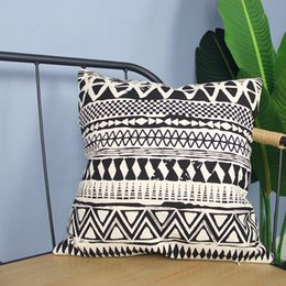 wholesale plain cotton cushions NZ - Morocco Style Geometric Cushion Cover 100% Cotton Pillow Cover for Car Sofa Home Decoration 45x45cm
