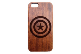 Iphone 3d UK - Natural Wooden Case Cover for Iphone 6 7 Plus Customize Design 3D Engraving Wood Bamboo Super hero Spider-Man Captain America Cases