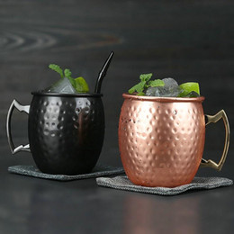 Wholesale Ounces Hammered Copper Plated Moscow Mule Mug Beer Cup Coffee Mug Copper Plated Black Rose Mugs Kitchen Bar Drinkware ml LX4248