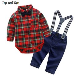 Discount boys suspenders plaid - Top and Top Spring Cotton Gentleman Baby Boys Clothes Clothing Sets Plaid Long Sleeve Biw tie Shirt Rompers Suspenders P