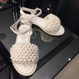 flat pearls white Australia - brand supplier original customization Sleek black and white leather ladies sandals Flat shoe pearl design adornment with the packing hot sal